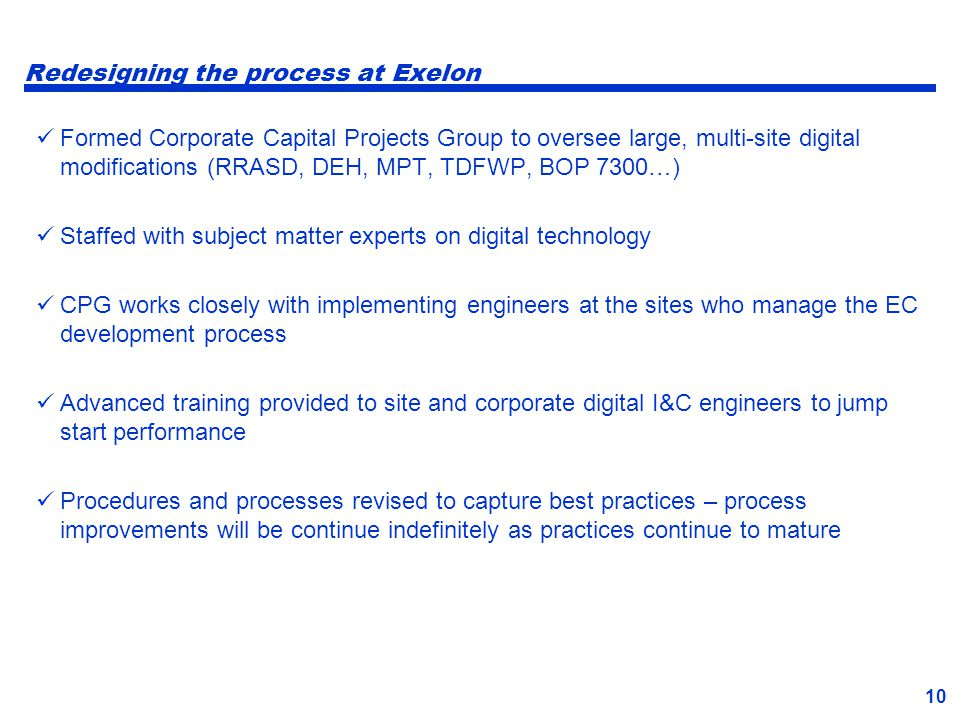 Redesigning the process at Exelon