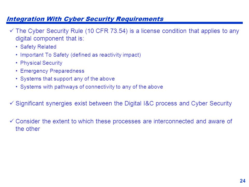 Integration With Cyber Security Requirements