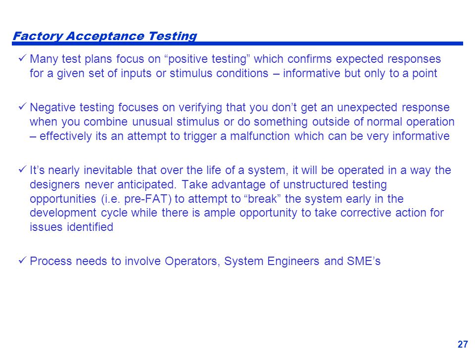 Factory Acceptance Testing