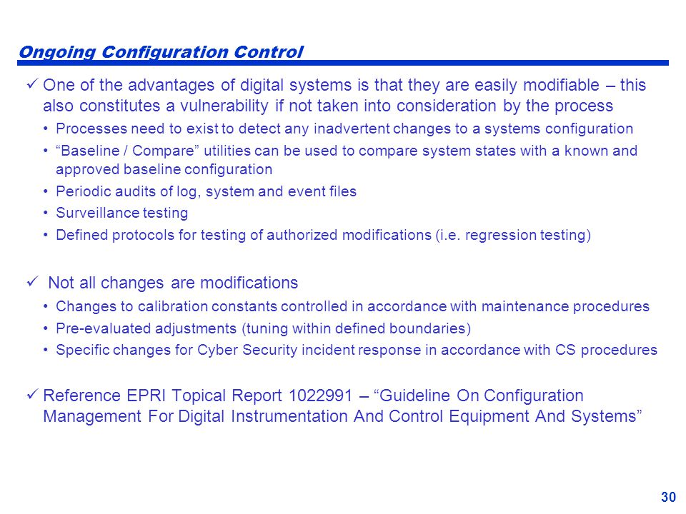 Ongoing Configuration Control