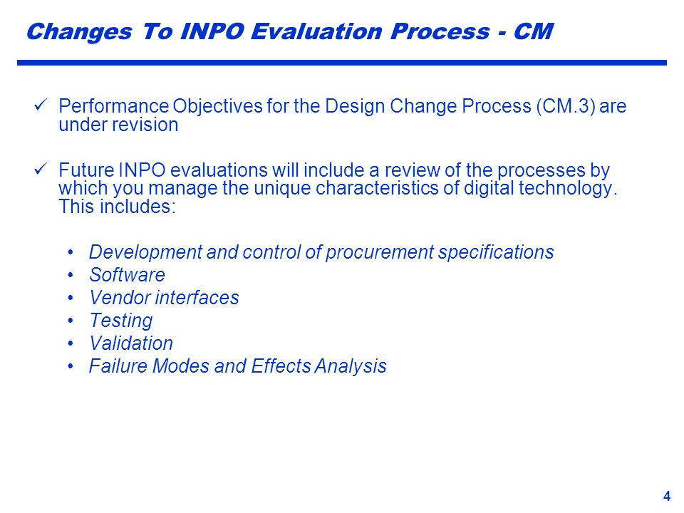 Changes To INPO Evaluation Process - CM