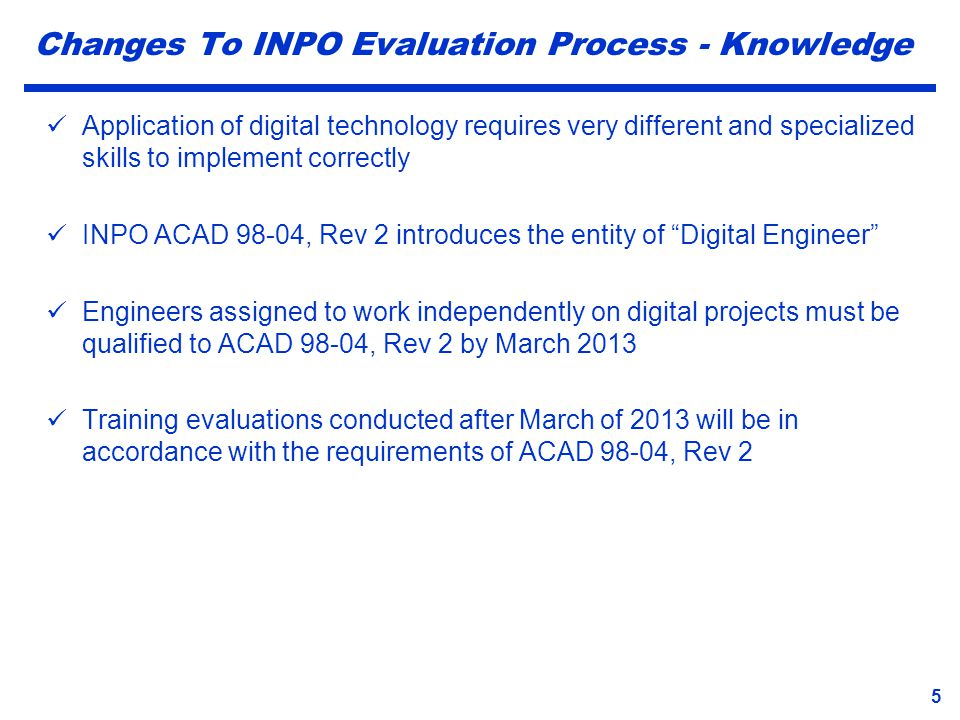 Changes To INPO Evaluation Process - Knowledge