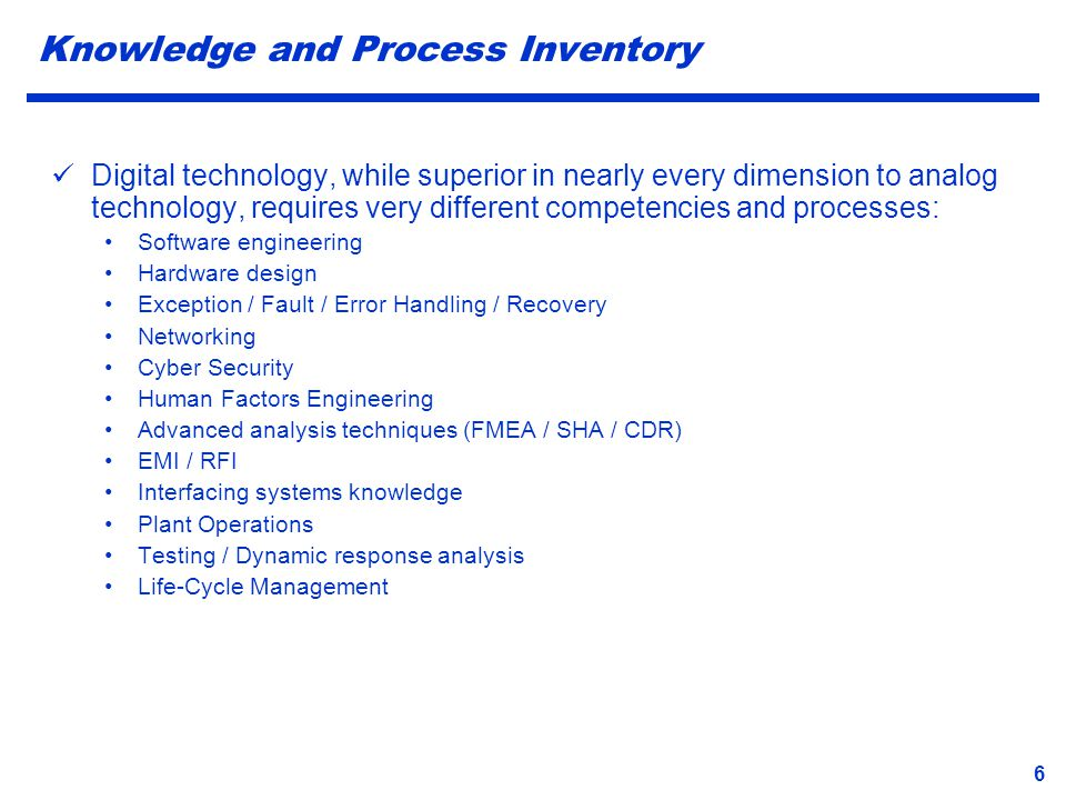 Knowledge and Process Inventory