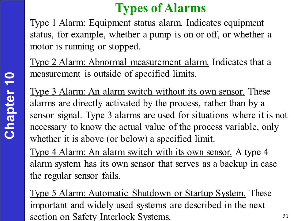Types of Alarms Chapter 10