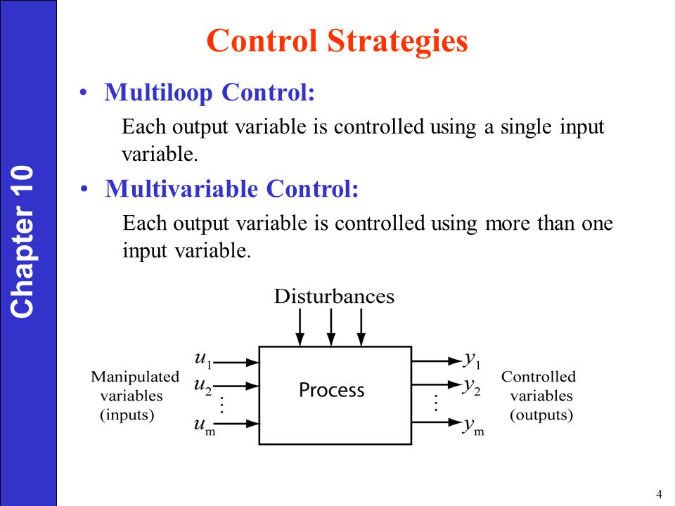 Control Strategies Chapter 10 Multiloop Control: