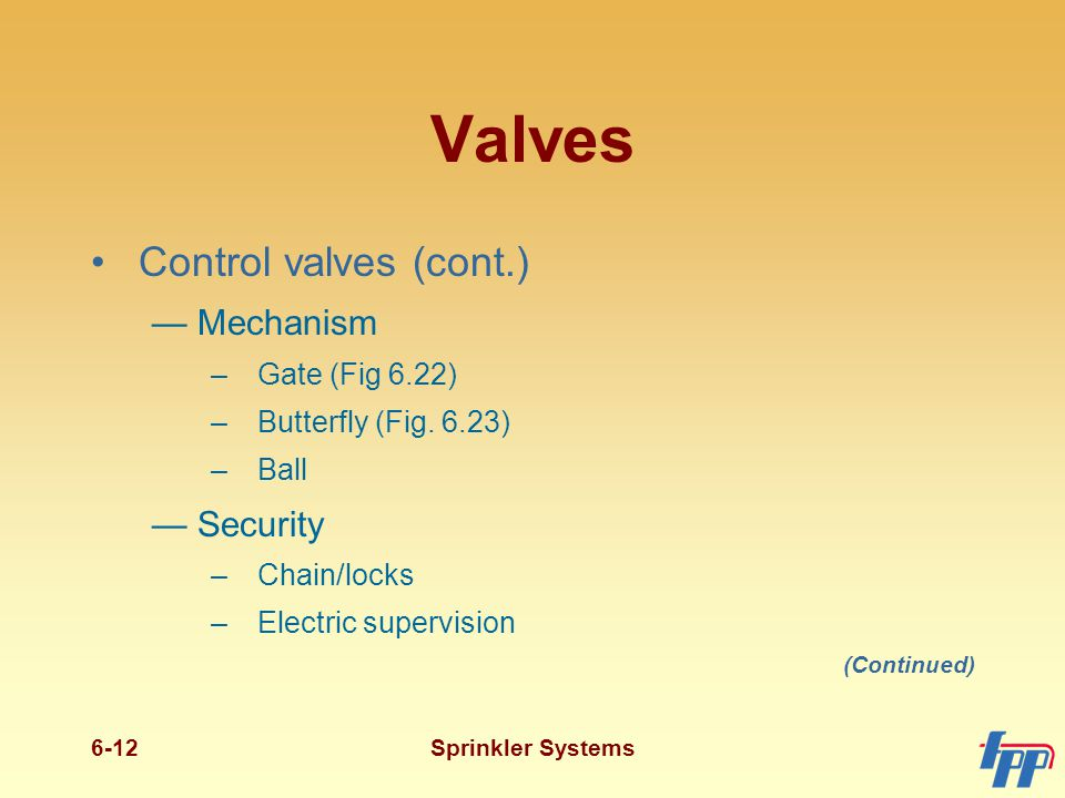 Valves (cont.) Operating valves Check valves (Figs. 6.24 and 6.25)