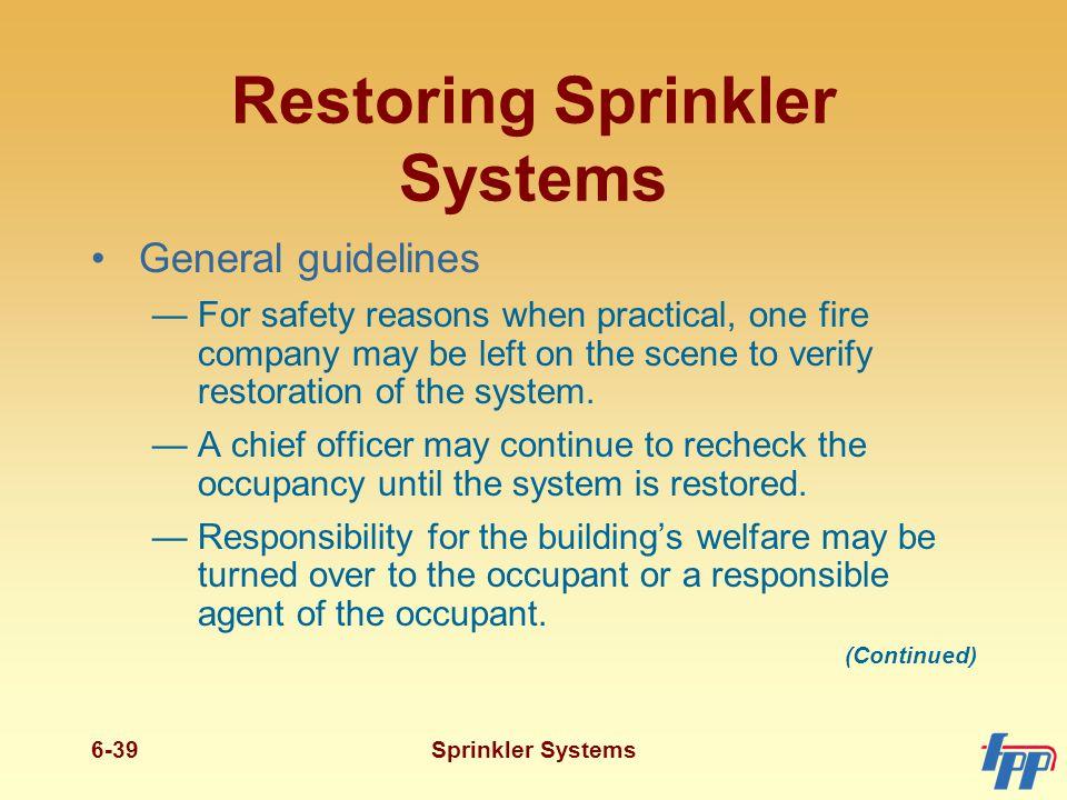 Restoring Sprinkler Systems
