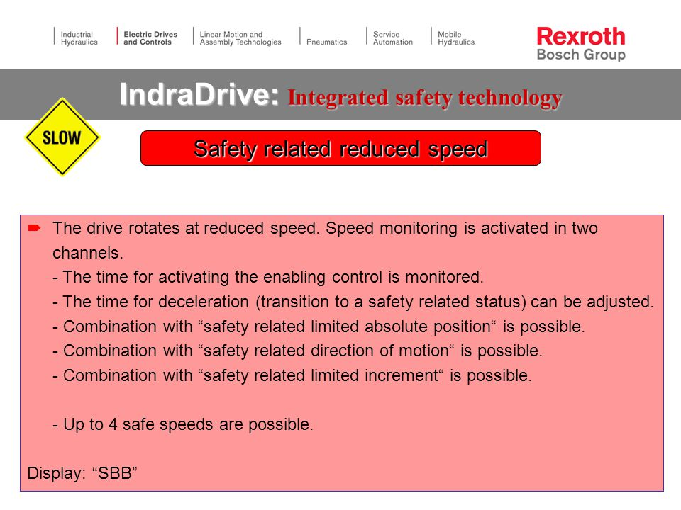IndraDrive: Integrated safety technology