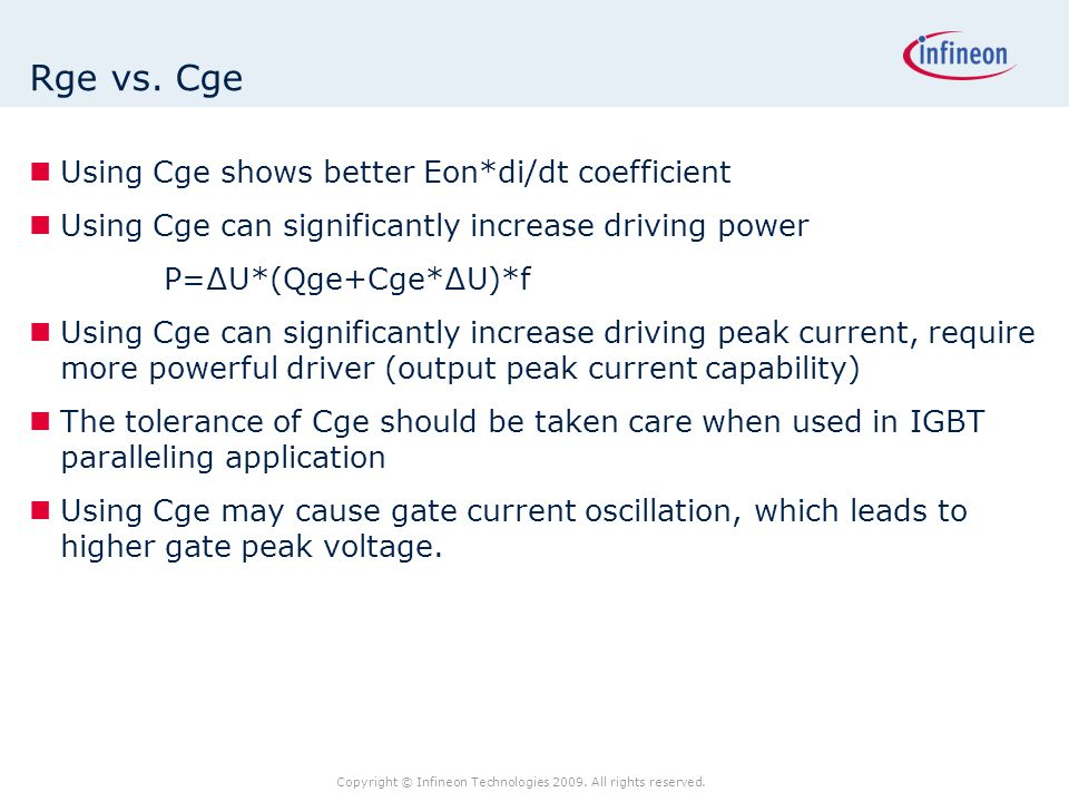 Rge vs. Cge Using Cge shows better Eon*di/dt coefficient