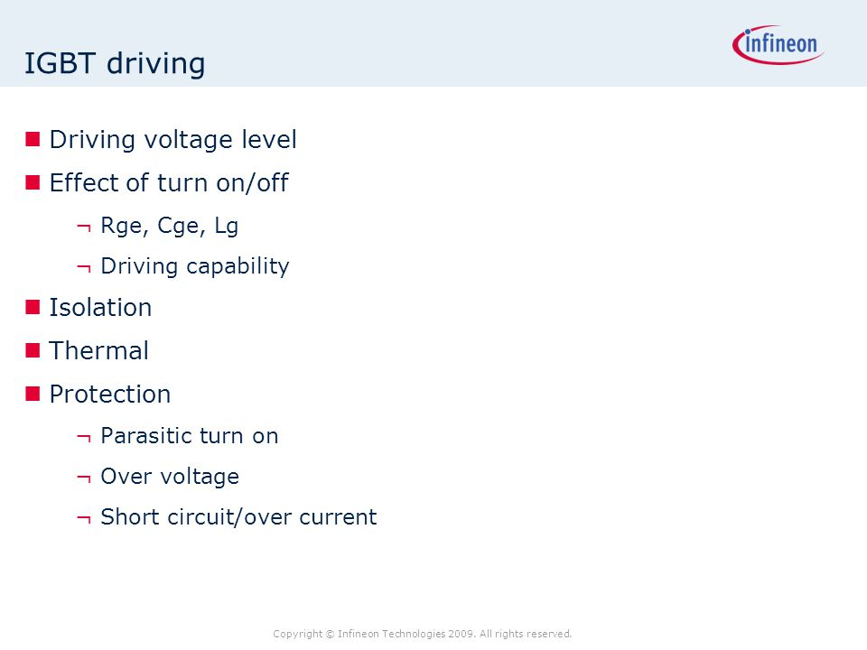 IGBT driving Driving voltage level Effect of turn on/off Isolation