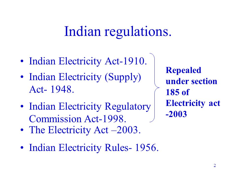 Indian regulations. Indian Electricity Act-1910.