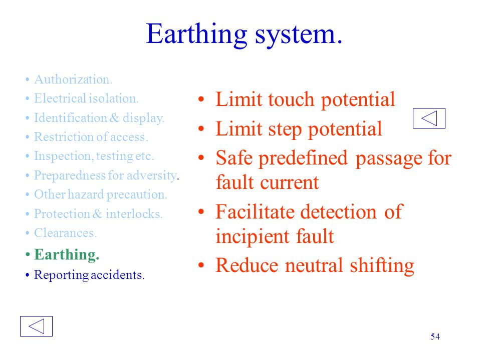 Earthing system. Limit touch potential Limit step potential