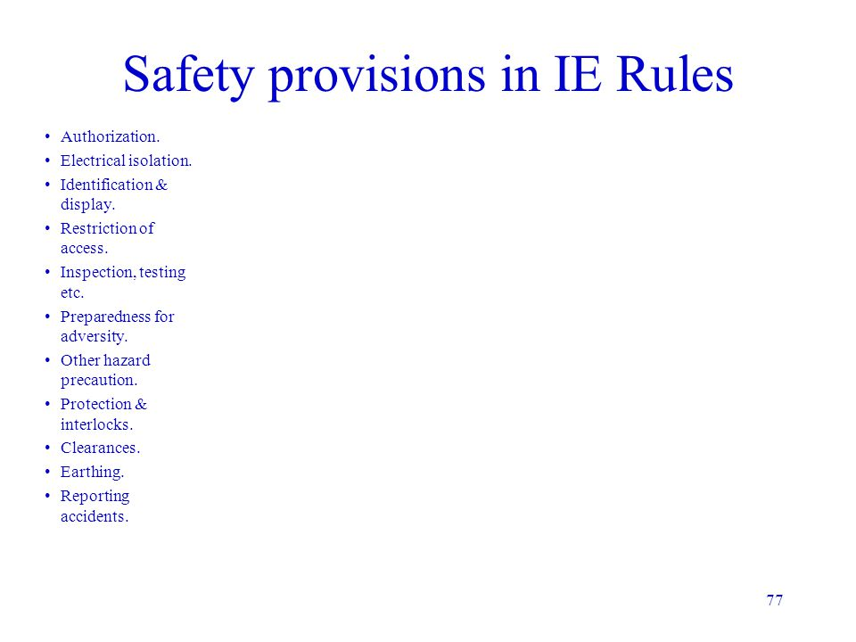 Safety provisions in IE Rules