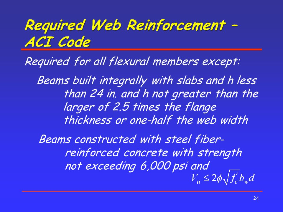 Required Web Reinforcement – ACI Code