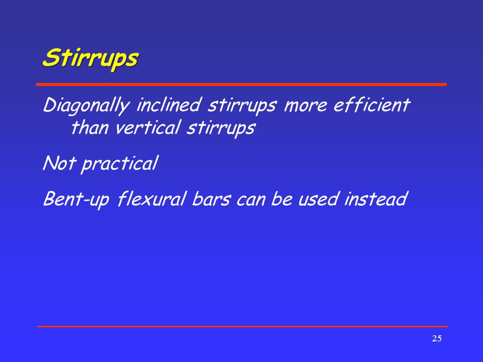 Stirrups Diagonally inclined stirrups more efficient than vertical stirrups.