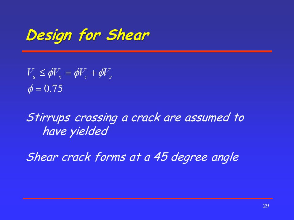 Design for Shear Stirrups crossing a crack are assumed to have yielded