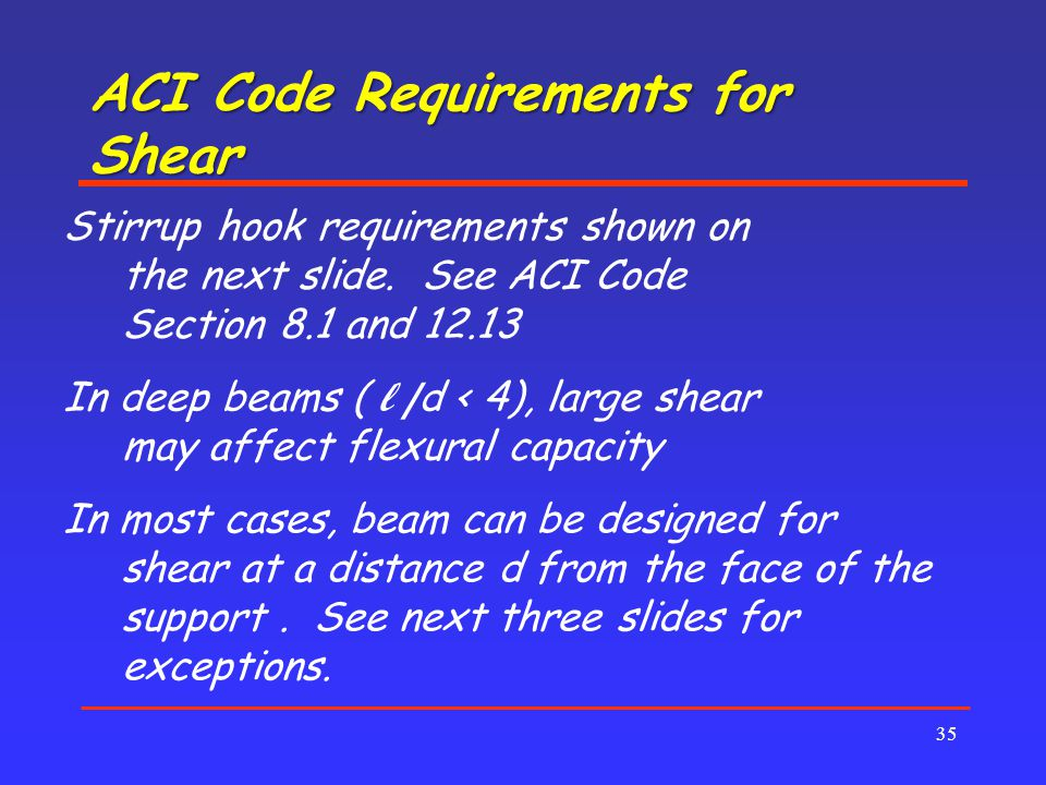 ACI Code Requirements for Shear