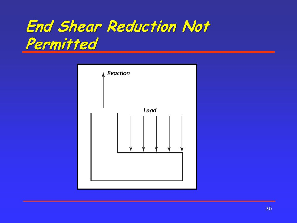 End Shear Reduction Not Permitted