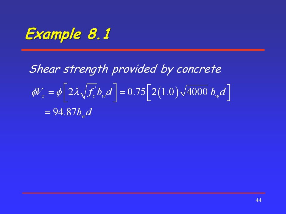 Example 8.1 Shear strength provided by concrete