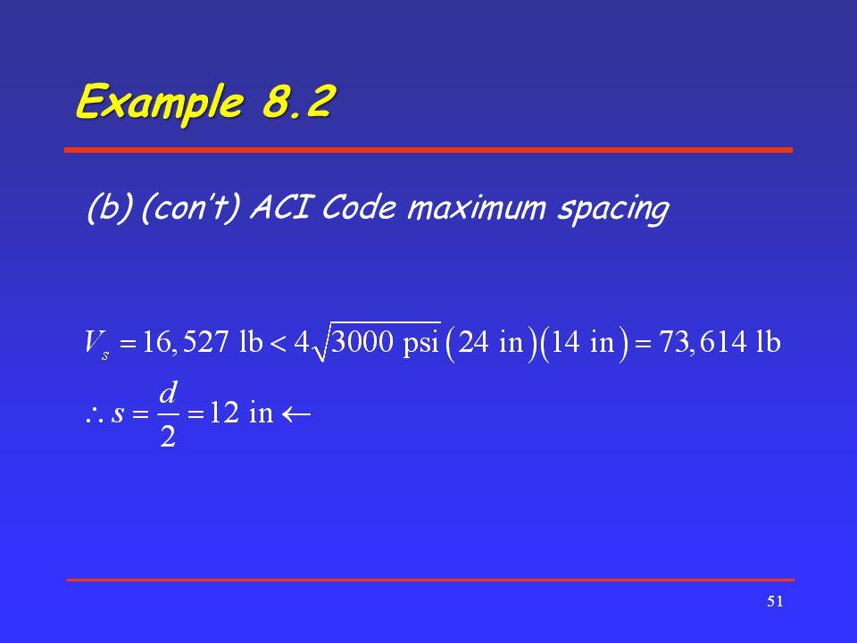 Example 8.2 (b) (con't) ACI Code maximum spacing