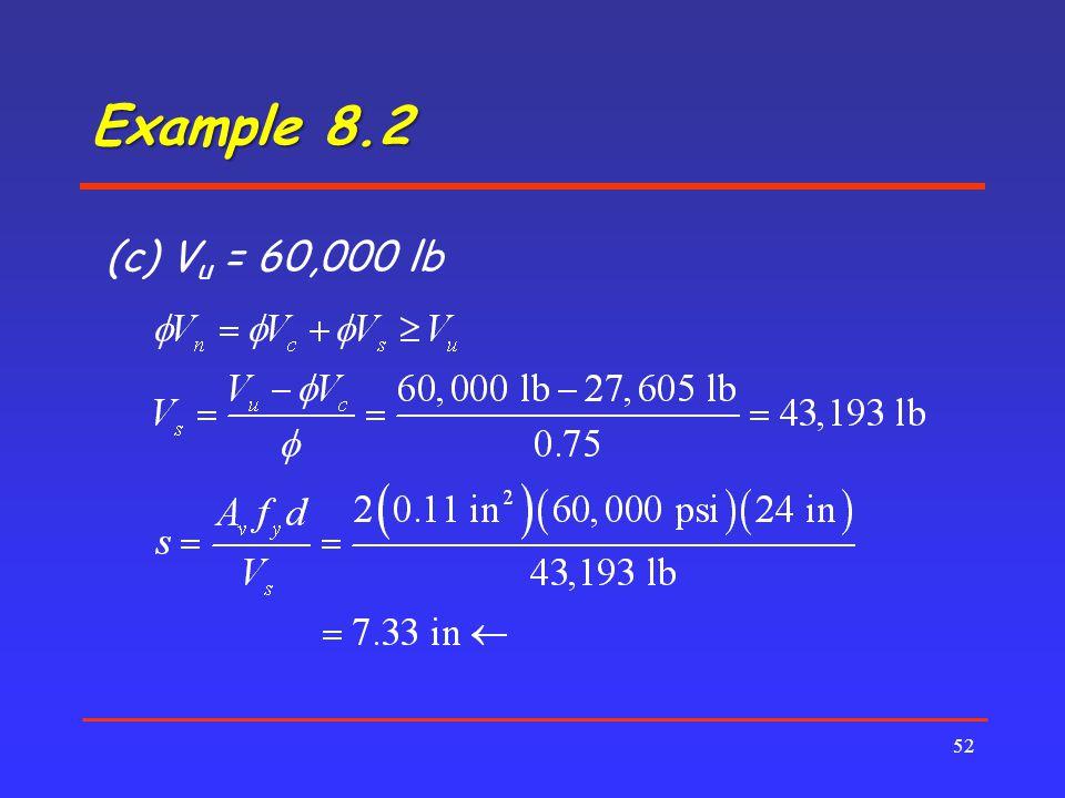 Example 8.2 (c) Vu = 60,000 lb