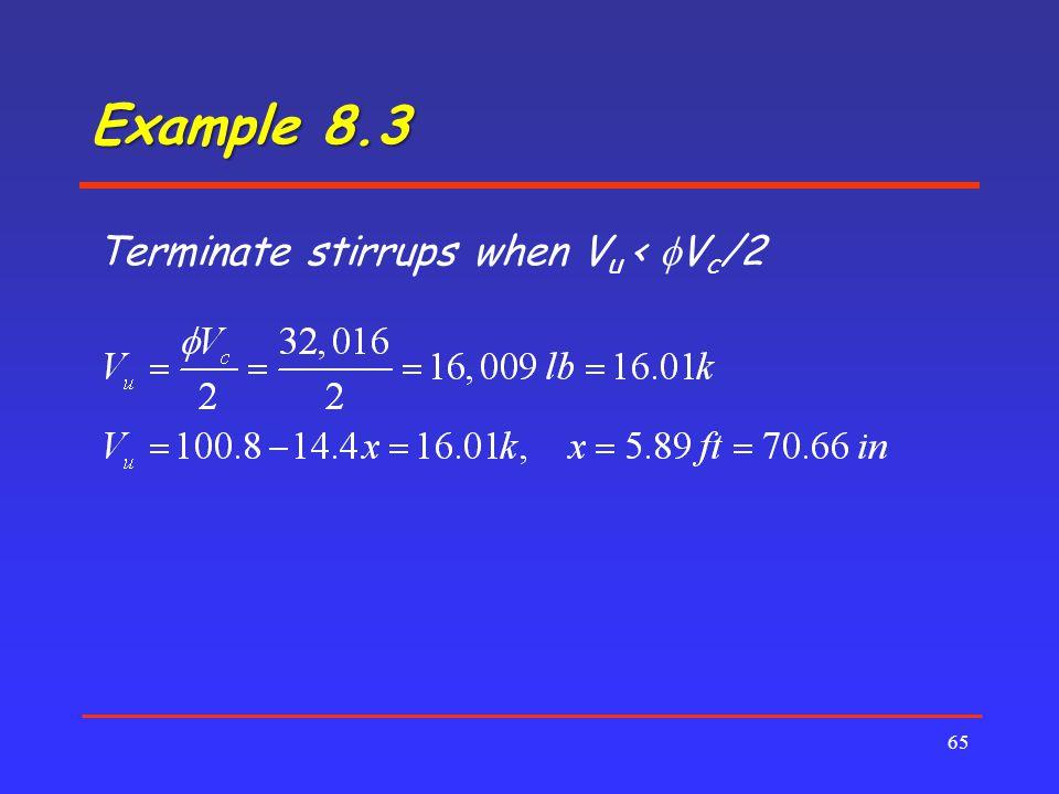 Example 8.3 Terminate stirrups when Vu < fVc/2