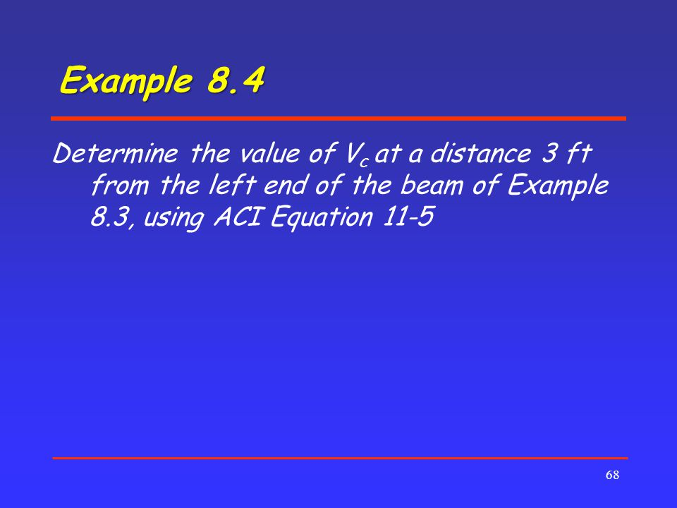 Example 8.4 Determine the value of Vc at a distance 3 ft from the left end of the beam of Example 8.3, using ACI Equation 11-5.