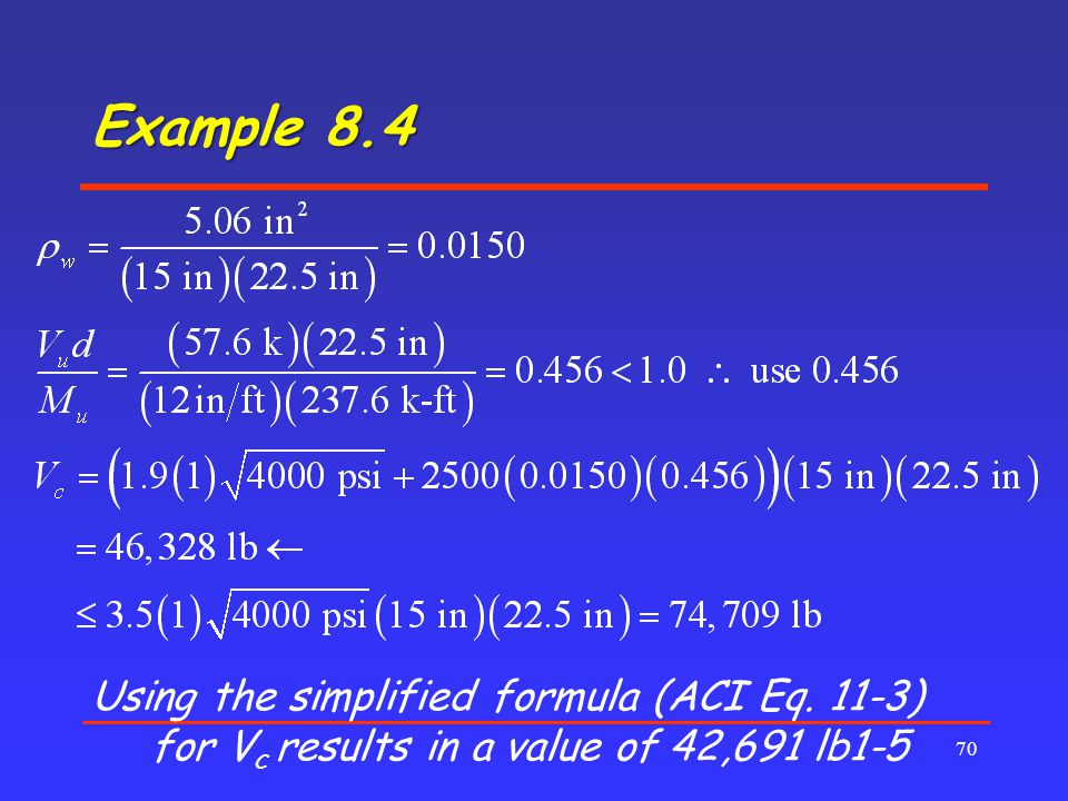 Example 8.4 Using the simplified formula (ACI Eq. 11-3) for Vc results in a value of 42,691 lb1-5