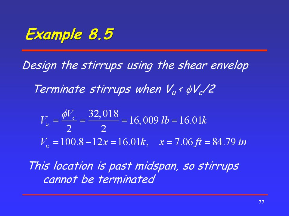 Example 8.5 Design the stirrups using the shear envelop