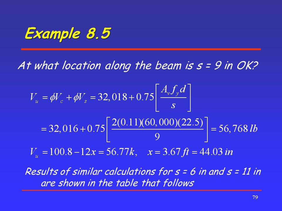 Example 8.5 At what location along the beam is s = 9 in OK