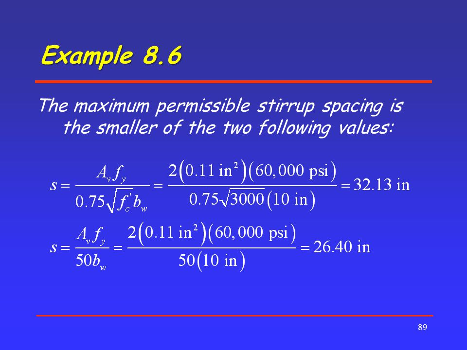 Example 8.6 The maximum permissible stirrup spacing is the smaller of the two following values: