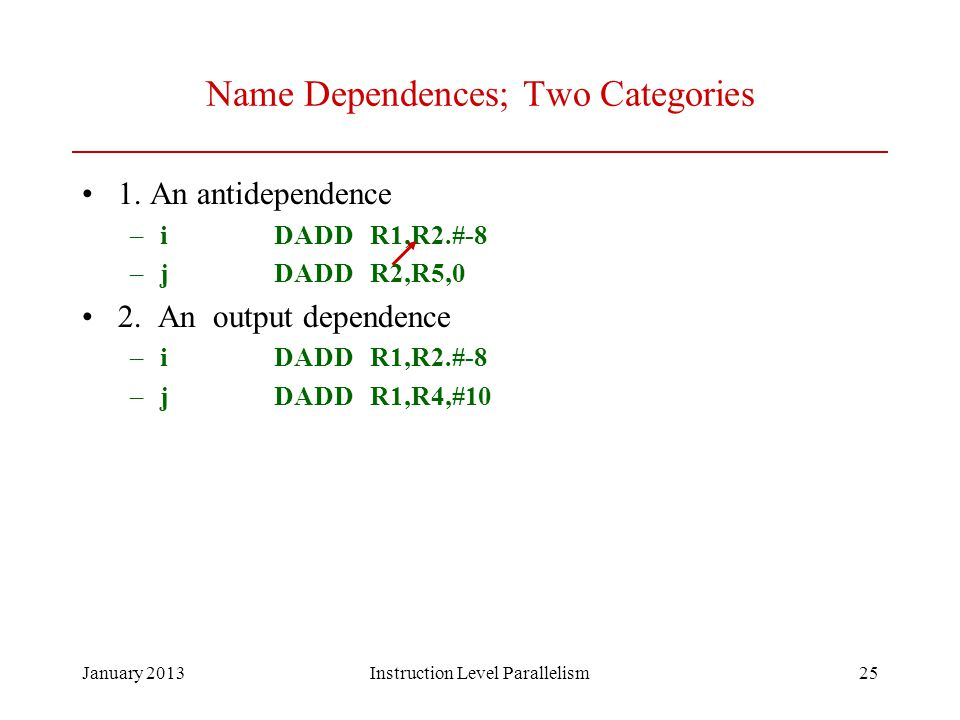 Name Dependences; Two Categories
