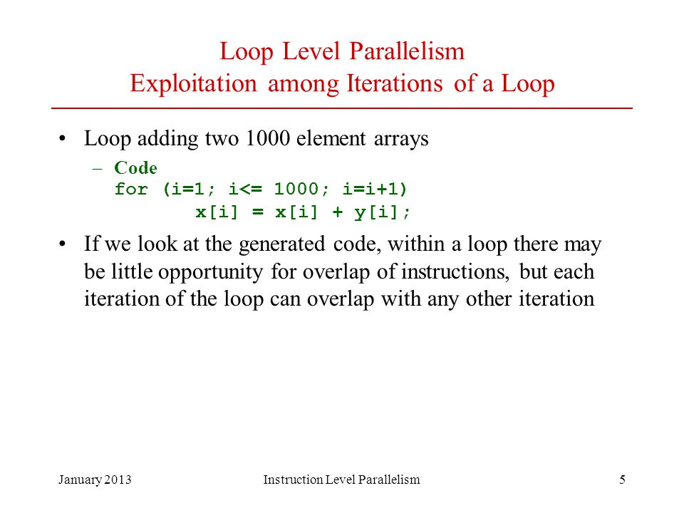 Loop Level Parallelism Exploitation among Iterations of a Loop