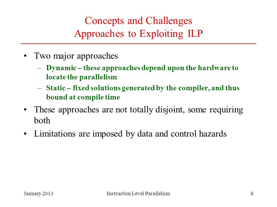 Concepts and Challenges Approaches to Exploiting ILP