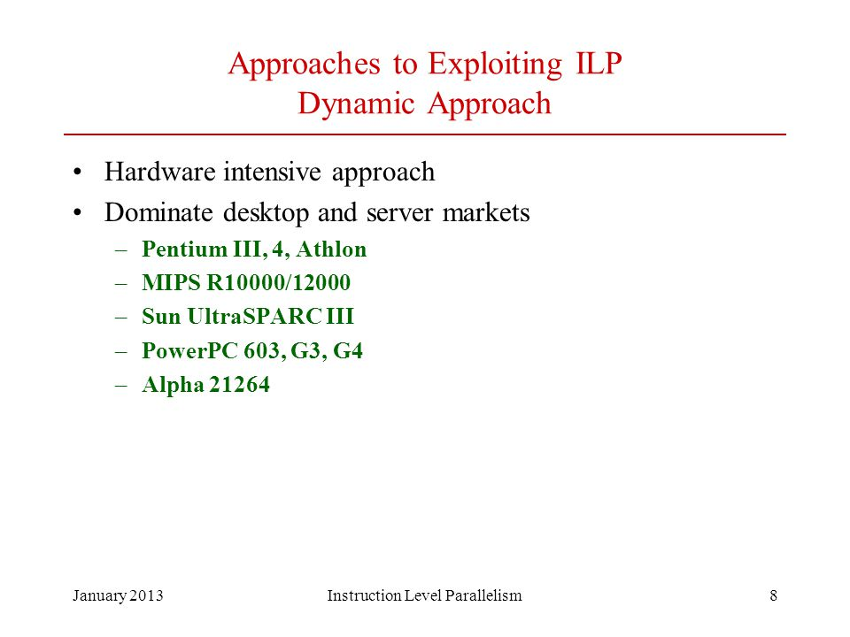 Approaches to Exploiting ILP Dynamic Approach