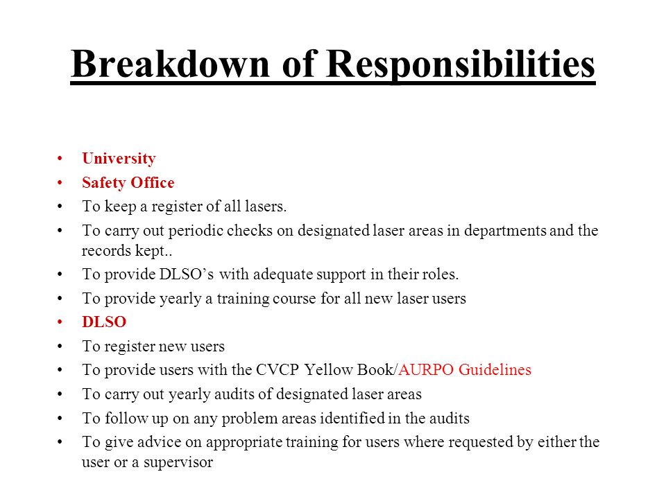 Breakdown of Responsibilities