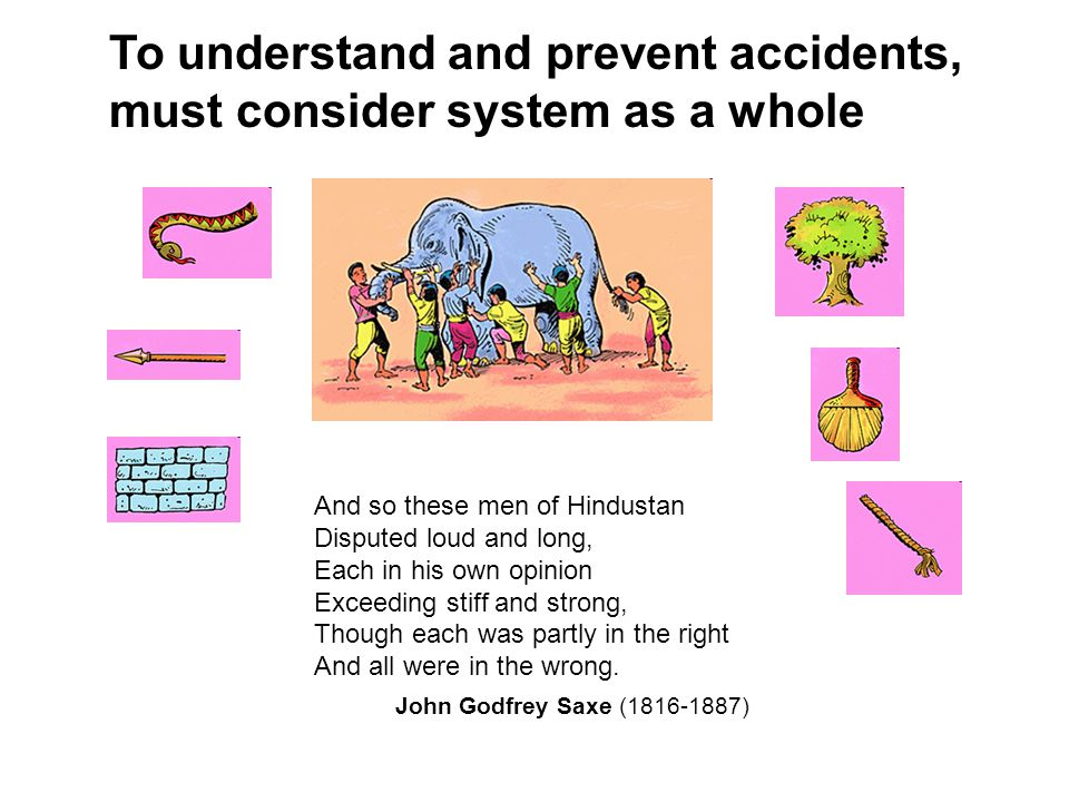 To understand and prevent accidents, must consider system as a whole