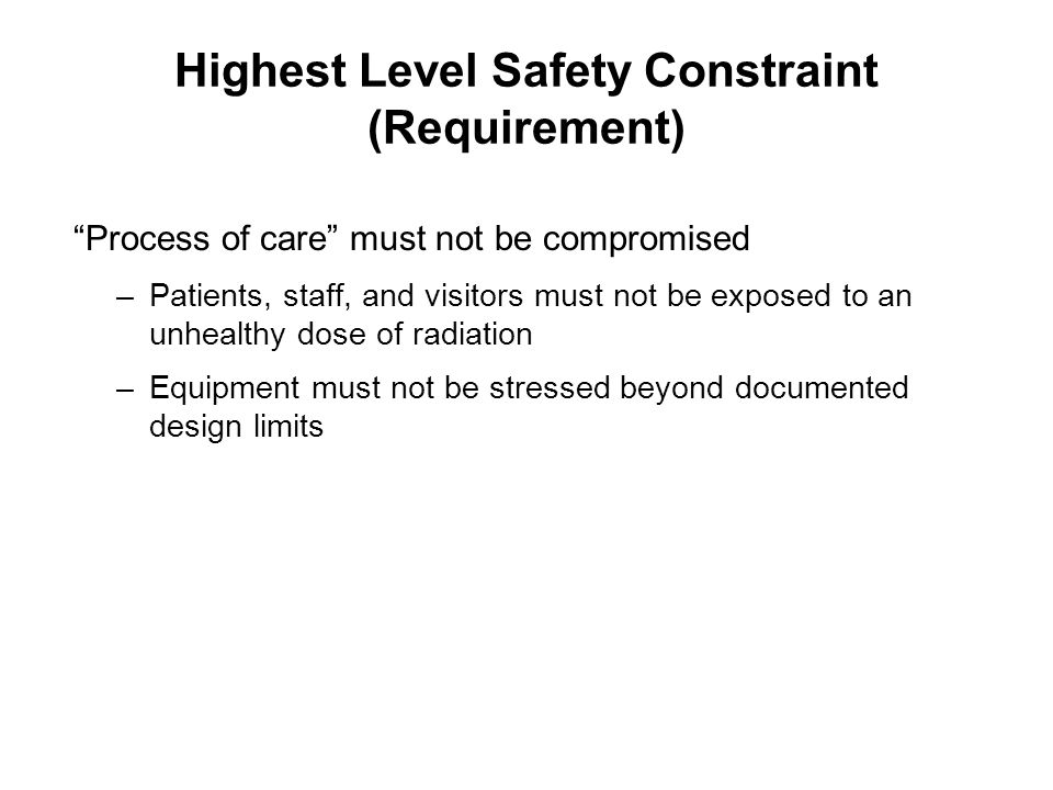 Highest Level Safety Constraint (Requirement)