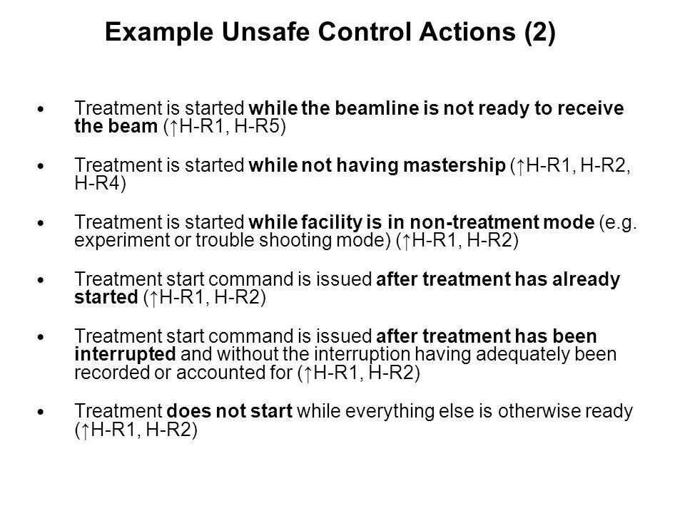 Example Unsafe Control Actions (2)