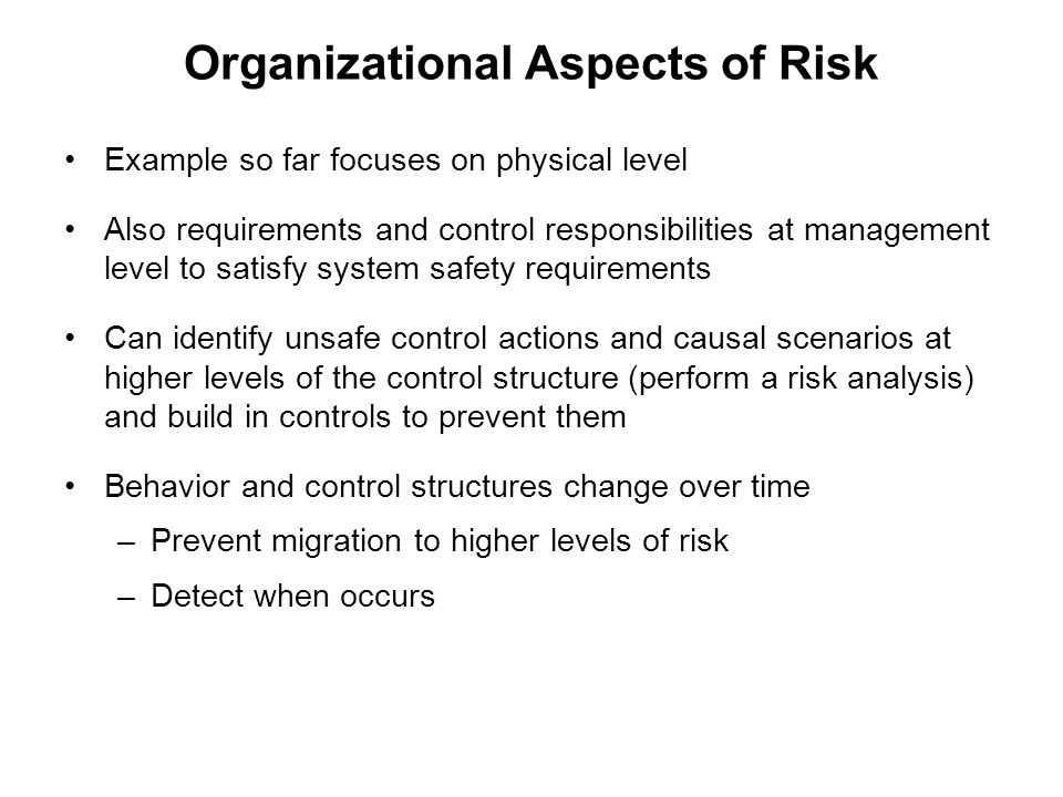 Organizational Aspects of Risk
