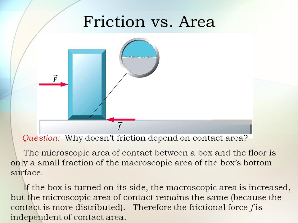 Friction vs. Area Question: Why doesn't friction depend on contact area