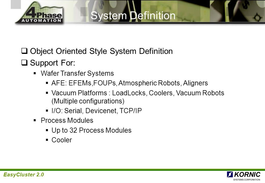 System Definition Object Oriented Style System Definition Support For: