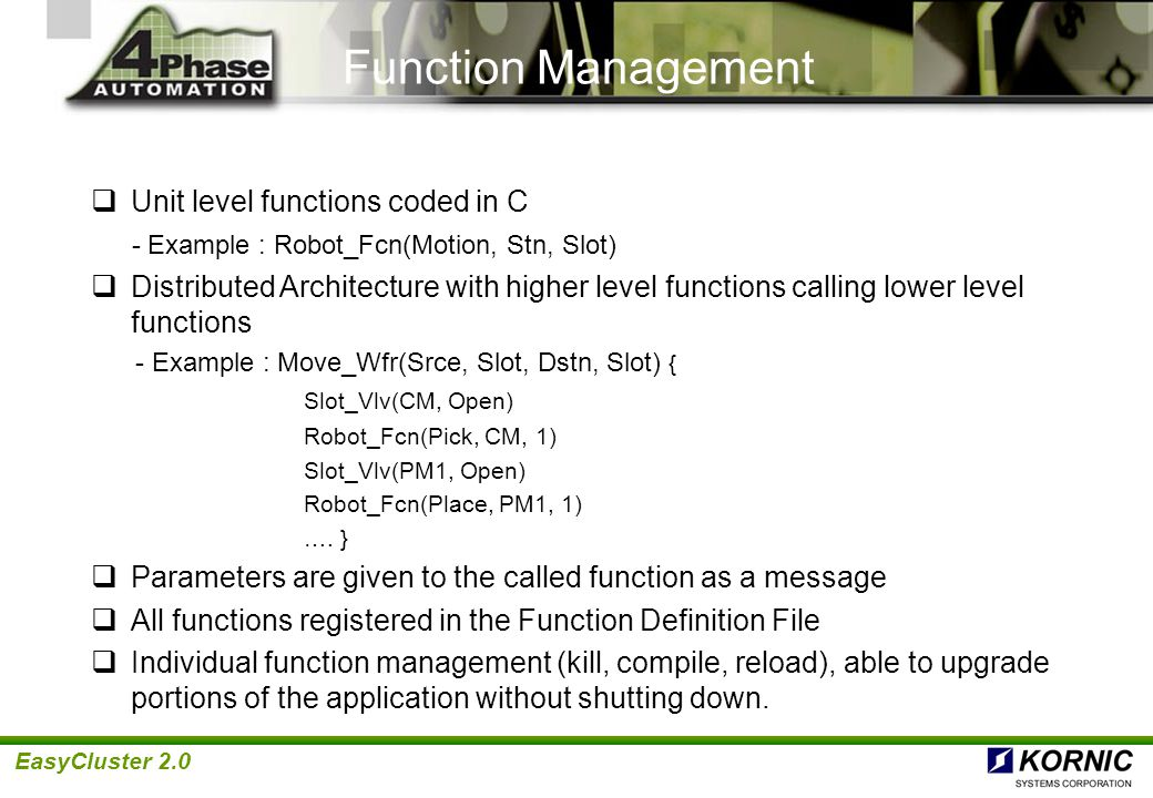 Function Management Unit level functions coded in C
