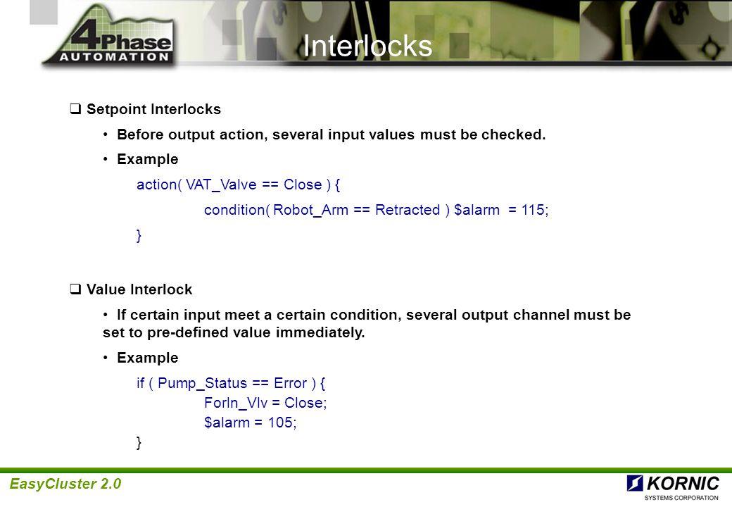 Interlocks Setpoint Interlocks