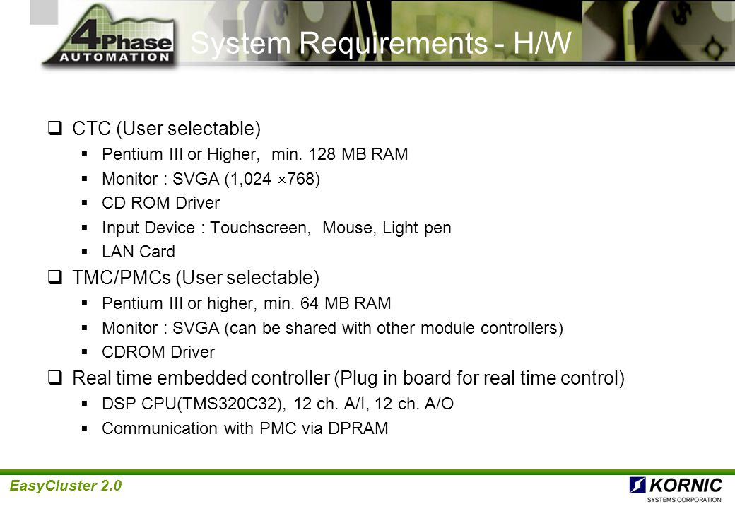 System Requirements - H/W