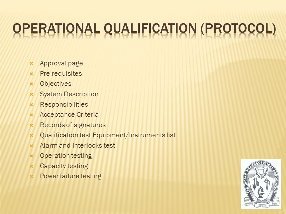 Operational Qualification (Protocol)