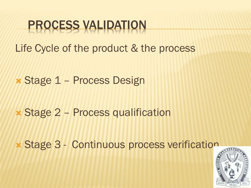Process Validation Life Cycle of the product & the process