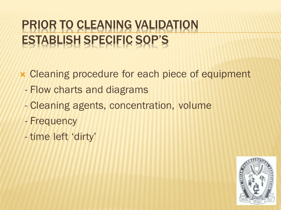 Prior to Cleaning Validation Establish specific SOP's