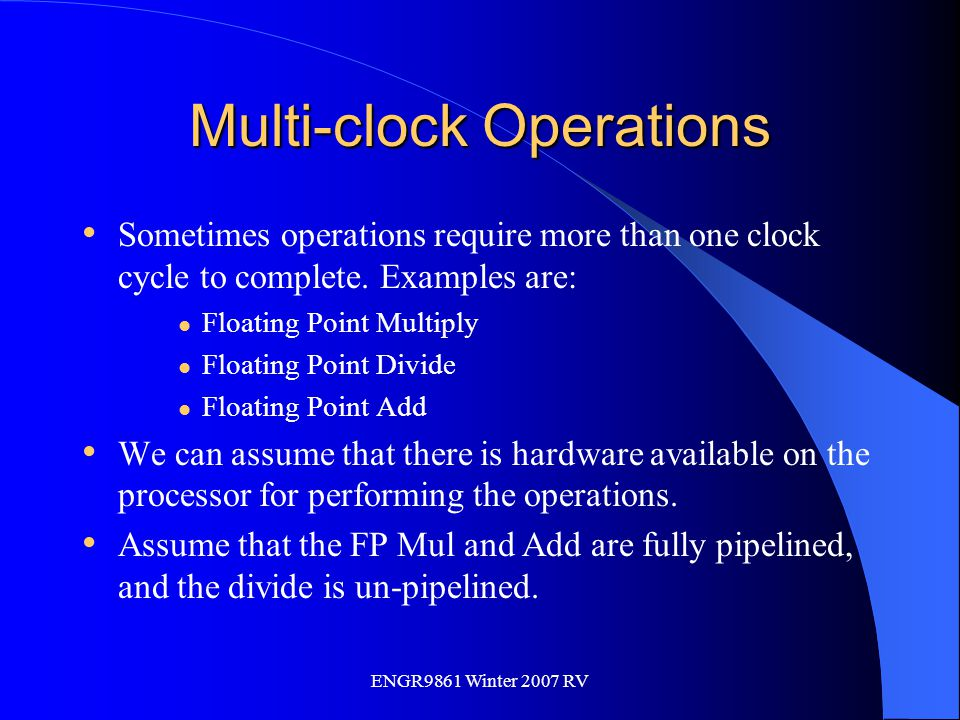 Multi-clock Operations