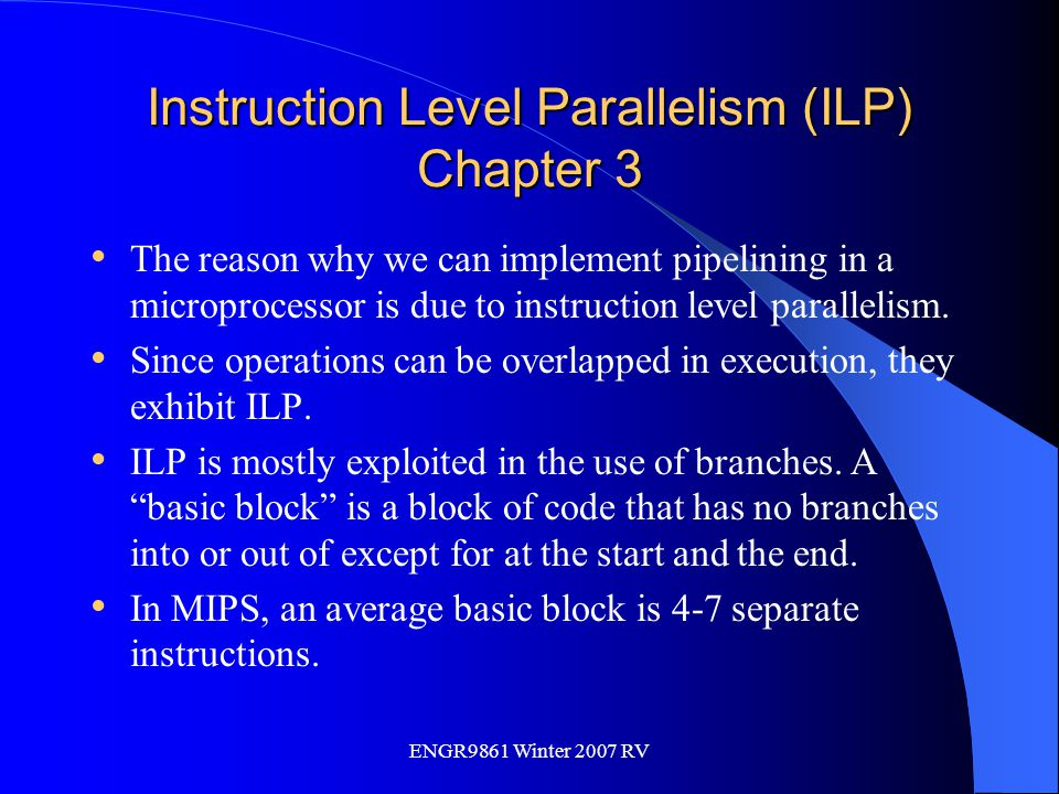 Instruction Level Parallelism (ILP) Chapter 3